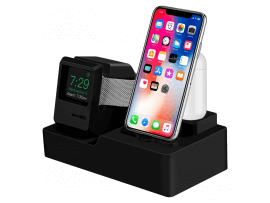 3-i-1 Silikone Holder til iPhone, Apple Watch & AirPods