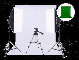 Fotostudie med grøn og hvid baggrund