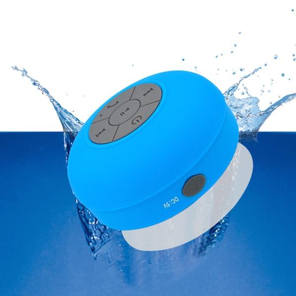 Blå Vandtæt Bluetooth Højtaler til badet m. sugekop