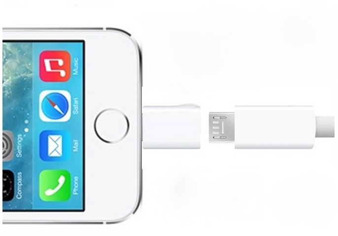 Micro USB til iPhone 5 adapter u/lyd