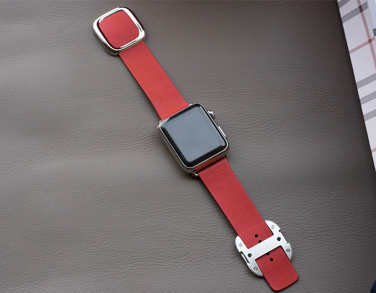 Image of   Apple Watch Læderrem med Spænde-Rød-38 mm