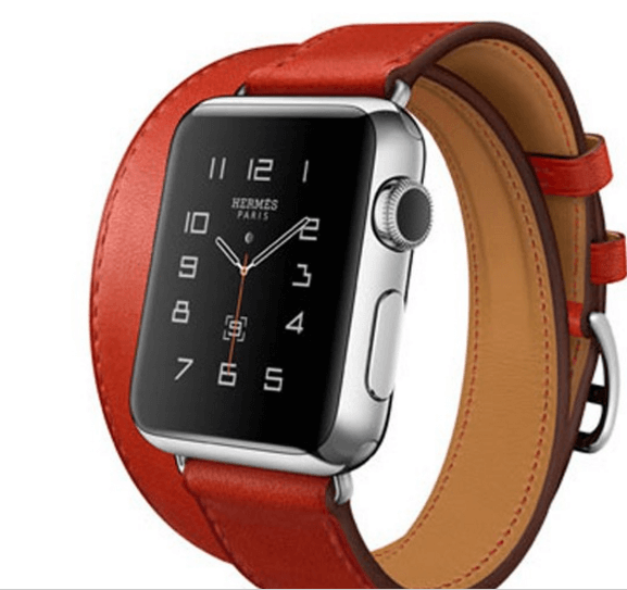 Image of   Dobbelt læderrem til Apple watch 42mm - Rød