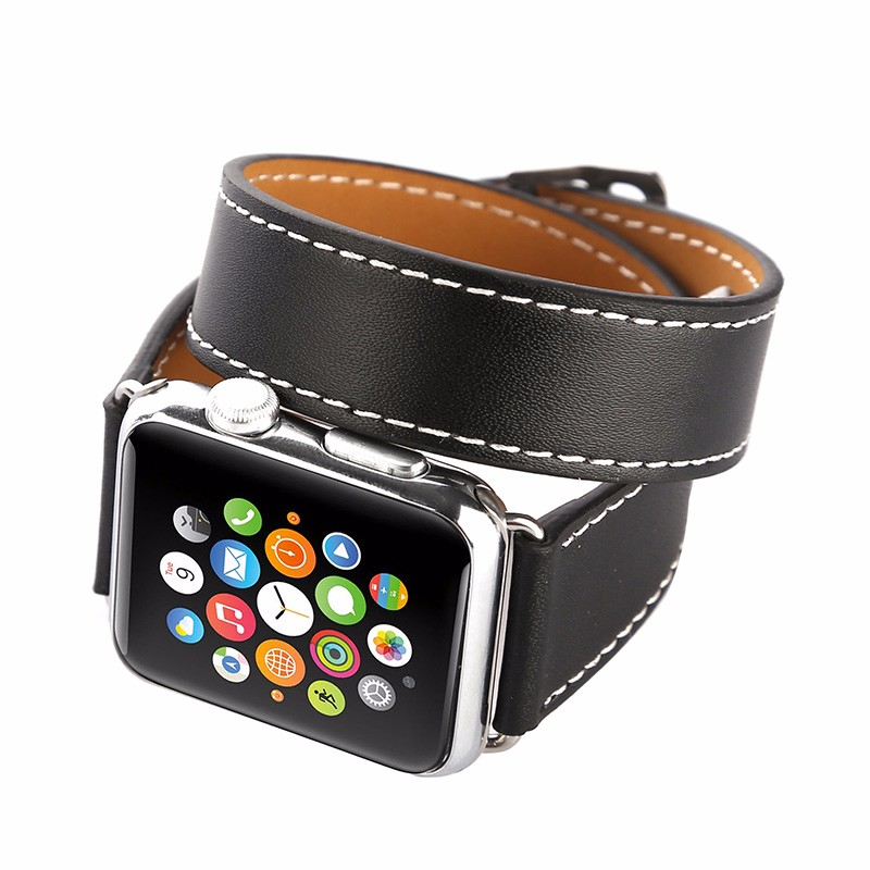 Image of   Dobbelt læderrem til Apple watch 42/44mm - Sort