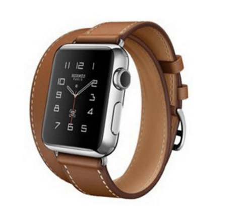 Image of   Dobbelt læderrem til Apple watch 42mm - Brun