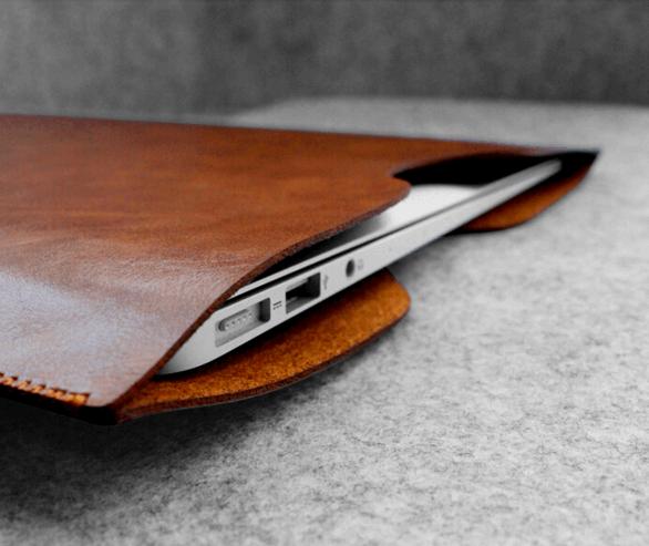 """Image of   Milano brunt læder sleeve til Macbook 13"""" og computer 13"""""""