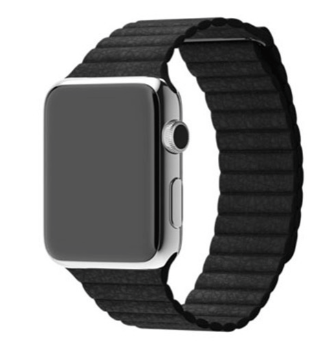 Billede af Apple watch Loop Genuine læderrem - Sort 42mm