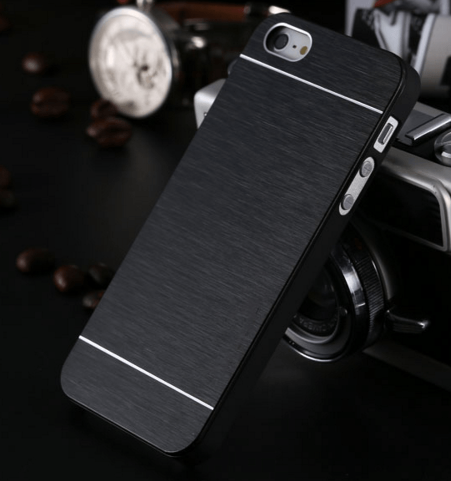 Cover i børstet aluminium til iPhone 5/5S / SE - Sort
