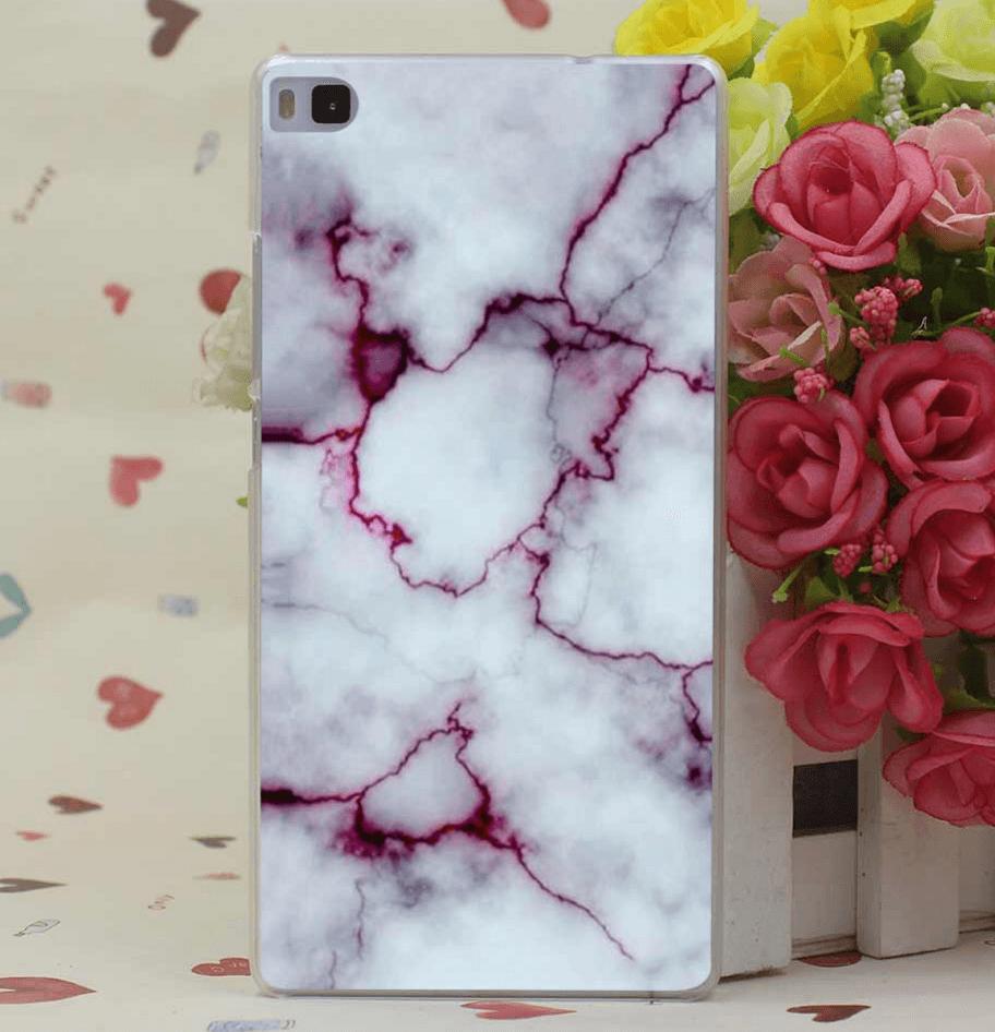 Billede af Hvidt marmor cover til Huawei P8 Lite