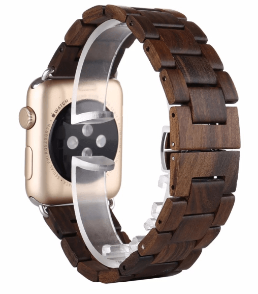 Image of   Apple Watch rem i Træ-Mørkebrun-38 mm