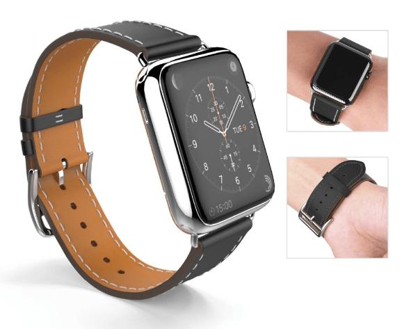 Billede af Sort læderrem til Apple watch-42 mm