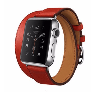 Image of   Dobbelt læderrem til Apple watch 42/44mm - Rød