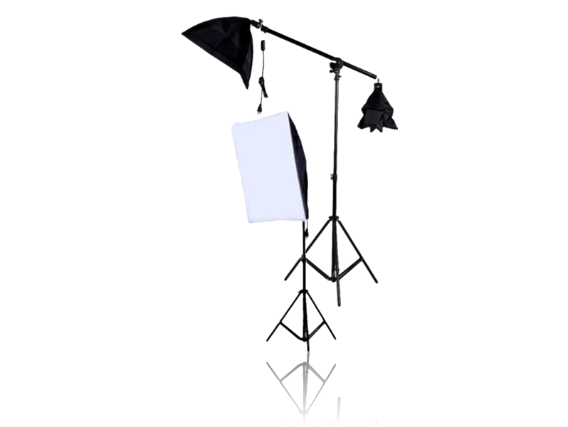 Image of   2x Softboxes m/ Stativer & Vægtstang