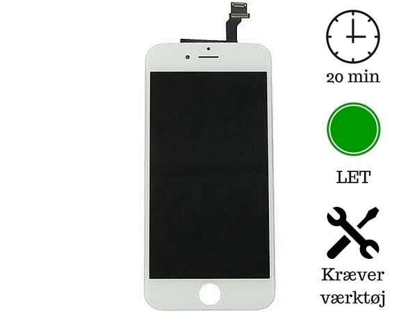 Skærm til iPhone 6-Hvid