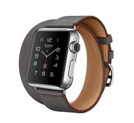 Image of   Dobbelt læderrem til Apple watch 42mm - Sort