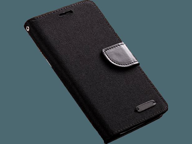Image of   iPhone 7/8 Flip cover i stof med læder detaljer - sort